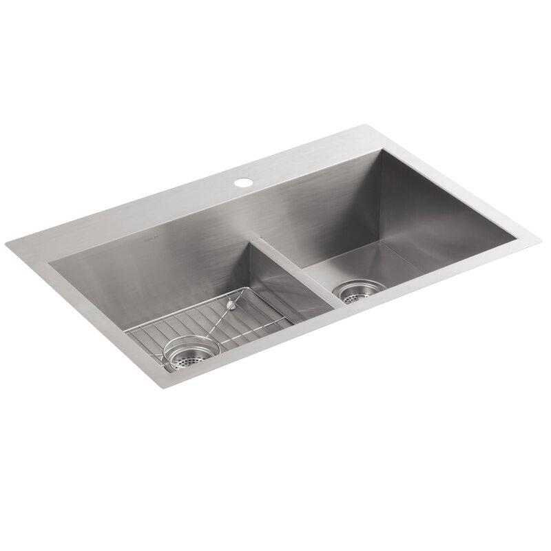Single Or Double Bowl Kitchen Sink K 3839 1 na kohler vault 33 x 22 x 9 516 smart divide top mount vault 33 x 22 x 9 516 smart divide top workwithnaturefo