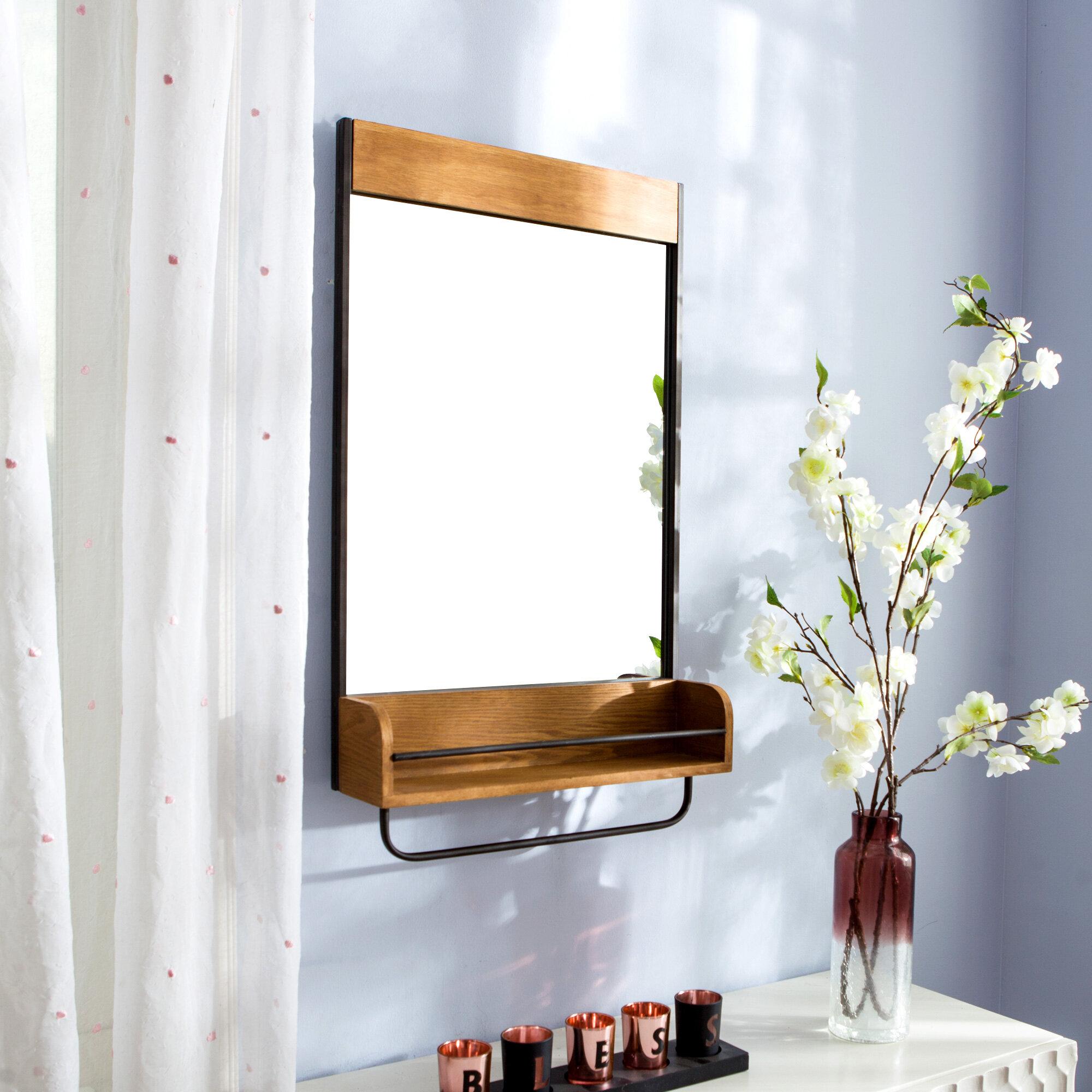 Gracie Oaks Alzada Bathroom Vanity Mirror With Shelves Wayfair