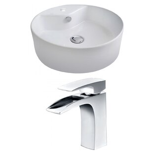 Bargain Ceramic Circular Vessel Bathroom Sink with Faucet and Overflow By Royal Purple Bath Kitchen