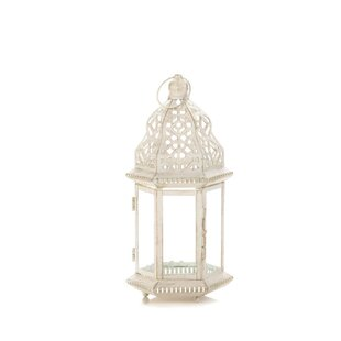 Bungalow Rose Distressed Iron and Glass Lantern