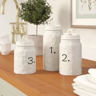 Ceramic Canister Numbers 3 Piece Kitchen Canister Set