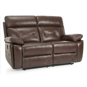 Krafton Leather Reclining Loveseat by Red Ba..