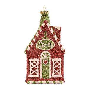 Merry and Bright Glitter Shatterproof Candy House Christmas Ornament by The Holiday Aisle