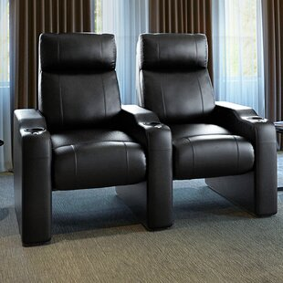 Latitude Run Leather Manual Rocker Recline Home Theater Row Seating (Row of 2)