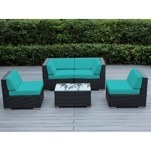 Wade Logan Baril 5 Piece Sectional Set with Cushions