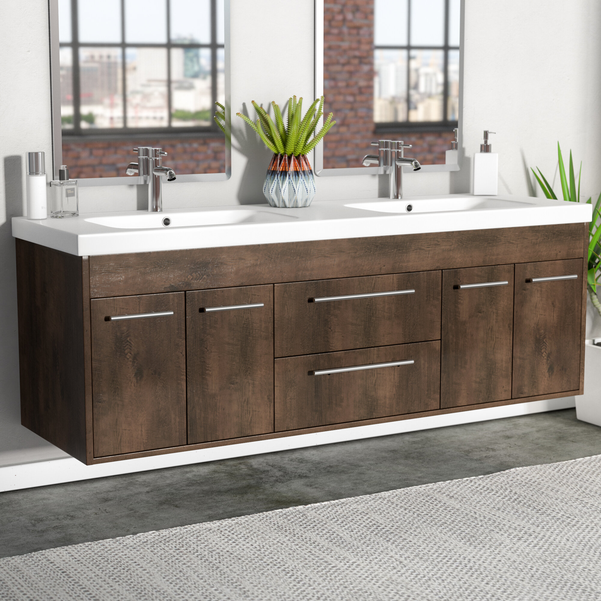 Orren ellis zuzanna 60 modern double bathroom vanity set wayfair