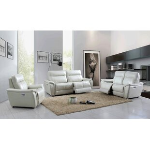 Meister Reclining Electric 3 Piece Leather Living Room Set Latitude Run  Find ...