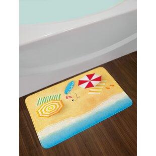 ambesonne beach bath mat by beach waves with umbrella towels and surfing board swimming themed summer season plush bathroom decor mat with non slip - Beach Themed Bathroom