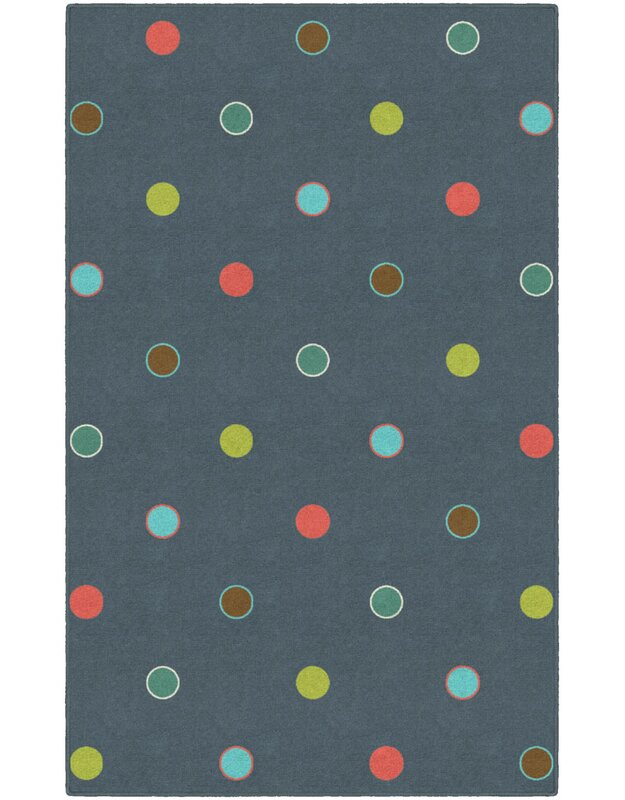 Ebern Designs Dan Polka Dots Gray Area Rug, Size: Rectangle 76 x 10