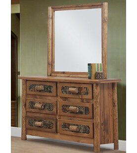 Chelsea Home Furniture Chicopee 6 Drawer Double Dresser with Mirror