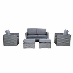 Armistead Outdoor 6 Piece Rattan Sofa Set with Cushions