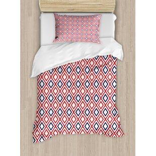 Geometric Modern Design and Diamond Line Pattern Simple Fashion Duvet Set by Ambesonne