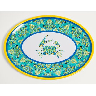 Yacht and Home Paisley Crab Melamine Oval Platter