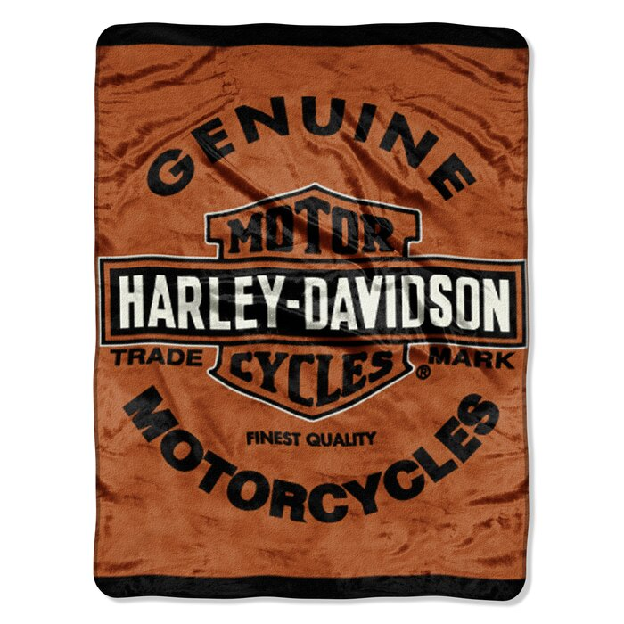 Harley Davidson Genuine Motorcycles Super Plush Fleece Throw