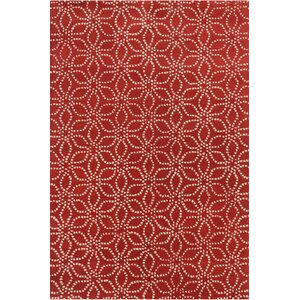 Stella Patterned Contemporary Wool Red/White Area Rug