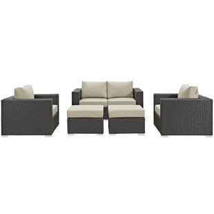 Brayden Studio Tripp 5 Piece Sunbrella Sectional Set with Cushions