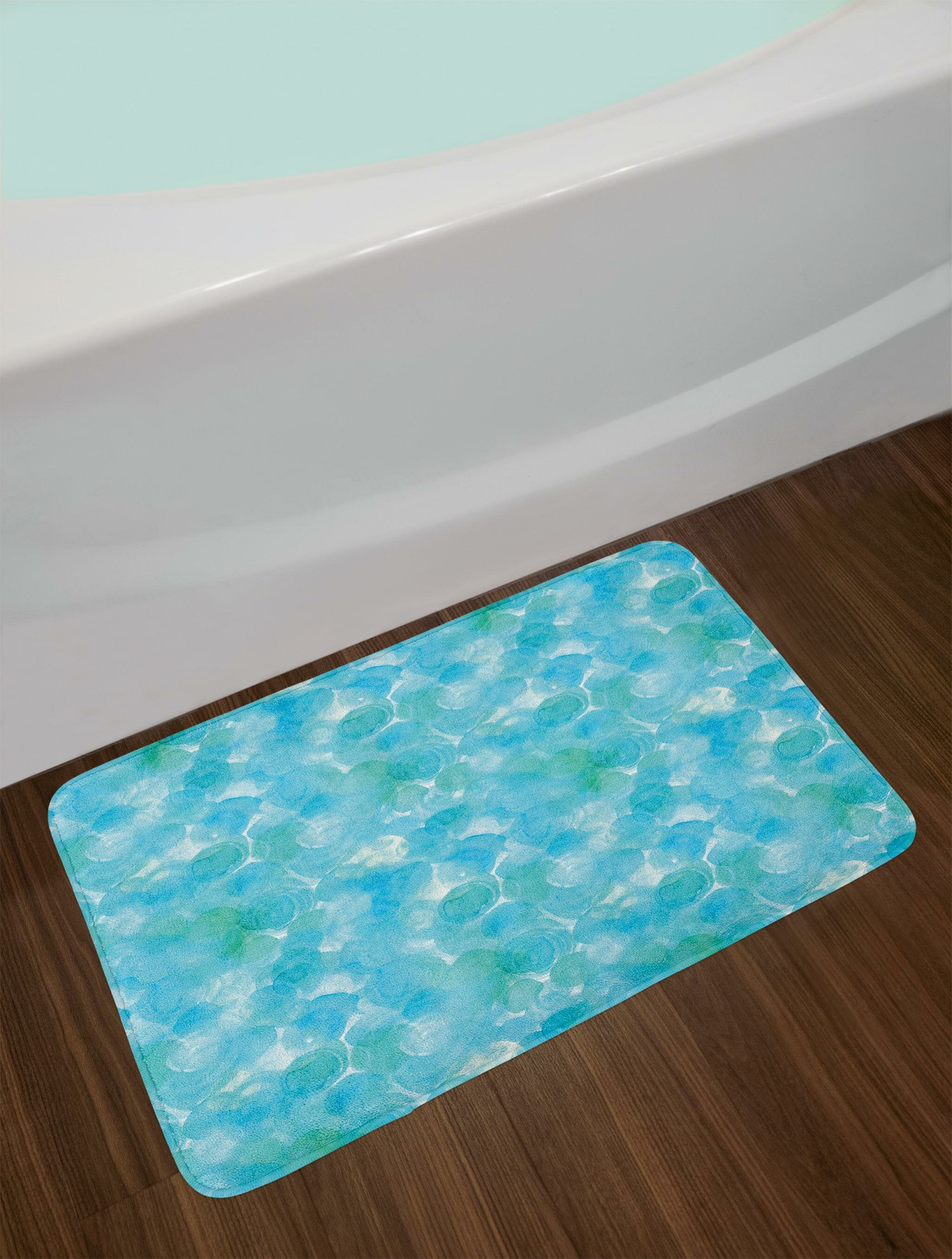 East Urban Home Abstract and Teal Bath Rug | Wayfair
