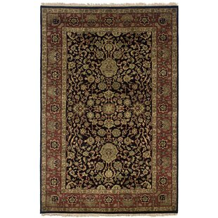 Best Wadgaon Hand-Knotted Black Area Rug ByMeridian Rugmakers