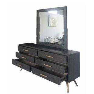 Wrought Studio Haslingden 6 Drawer Double Dresser with Mirror