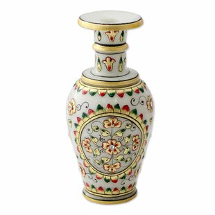 Makrana Marble Artisan Crafted Decorative Table Vase with 22K Gold