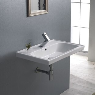 CeraStyle by Nameeks Frame Ceramic Rectangular Drop-In Bathroom Sink with Overflow