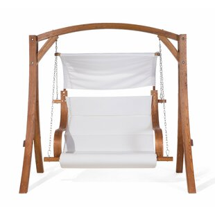 Odell Wooden Teak Porch Swing with Stand by Bayou Breeze