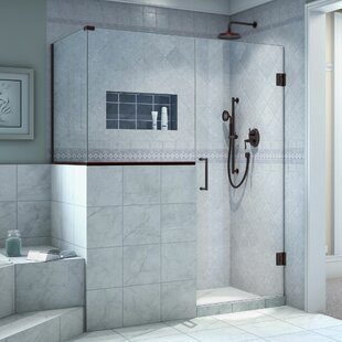 Affordable Price Unidoor Plus 46 x 72 Hinged Frameless Shower Door with Clear Max Technology ByDreamLine