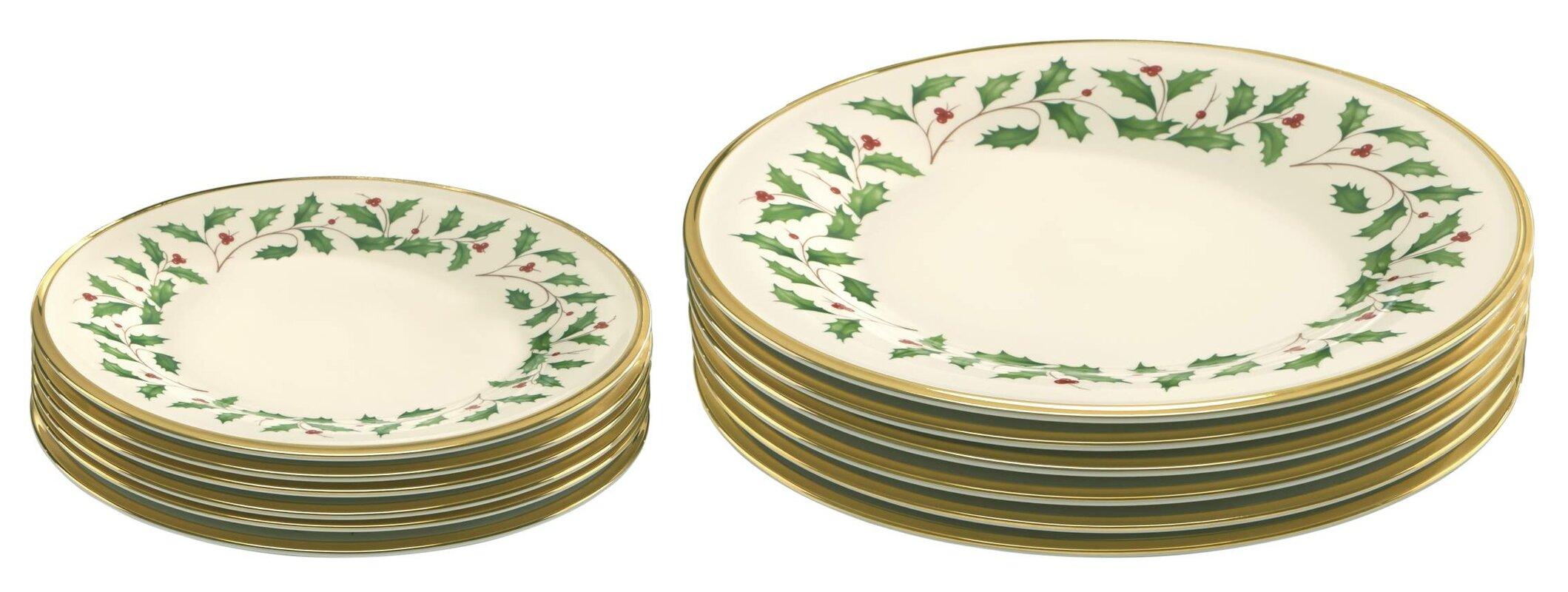 12 Piece Holiday Bone China Plate Set