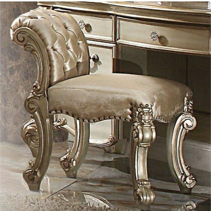 Fantastic Troutman Fabric Upholstered Wooden Vanity Stool Creativecarmelina Interior Chair Design Creativecarmelinacom