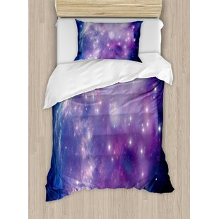 Constellation Purple Nebula Mysterious Cluster Explosion Motion Dreamy Duvet Set by Ambesonne