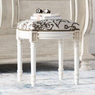 Affordable Amalda Toile Linen Upholstered Vanity Stool with Nailhead ByOne Allium Way