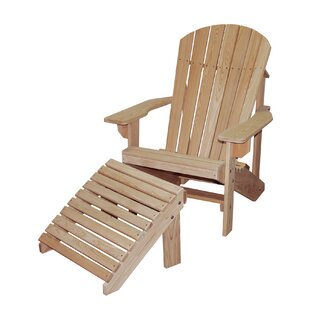 Hershy Way Solid Wood Adirondack Chair with Ottoman