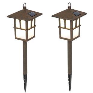 Winsome House Pagoda Solar 1-Light Pathway Light (Set of 2)