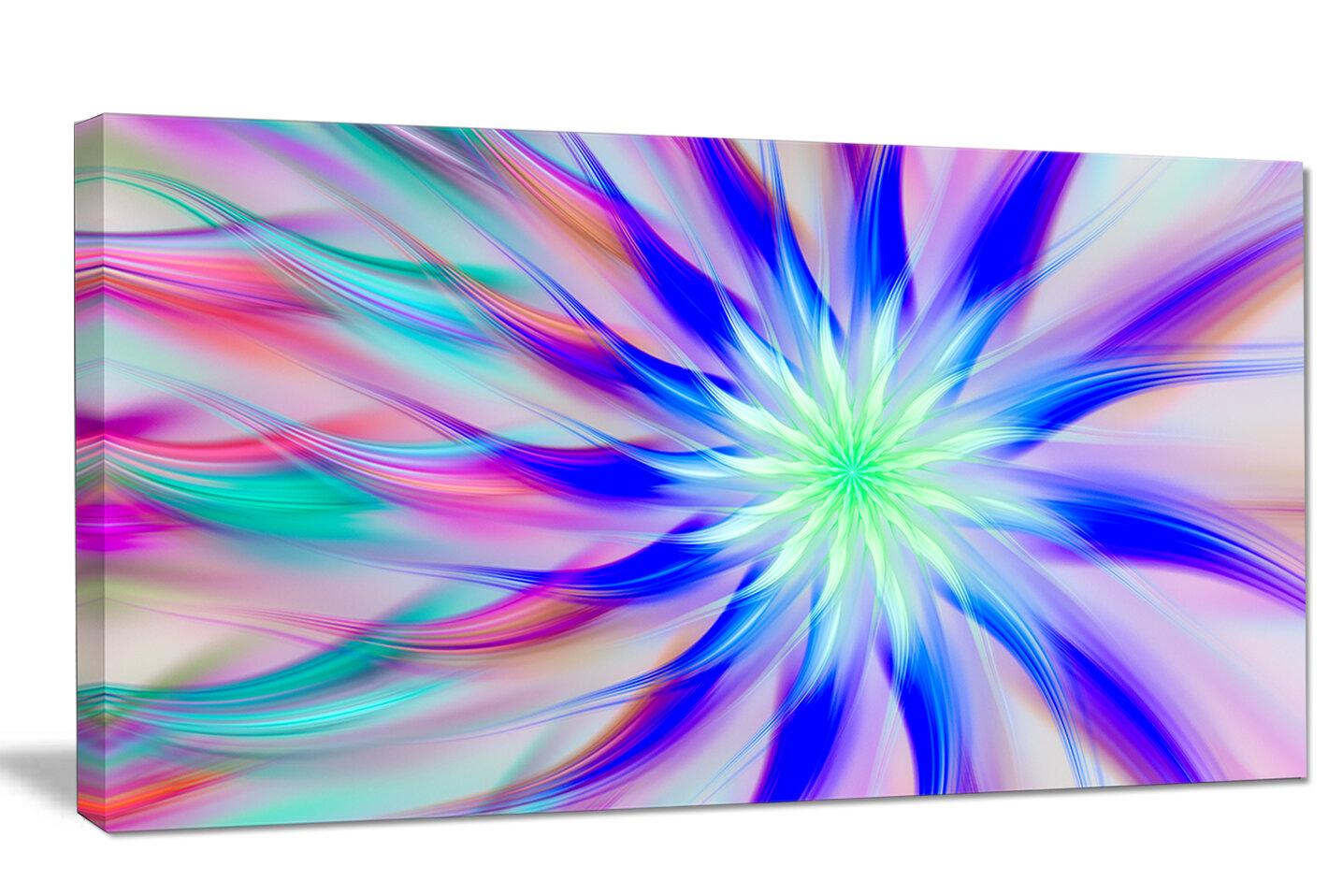 Designart Exotic Blue Fractal Spiral Flower Graphic Art On Wrapped Canvas Wayfair