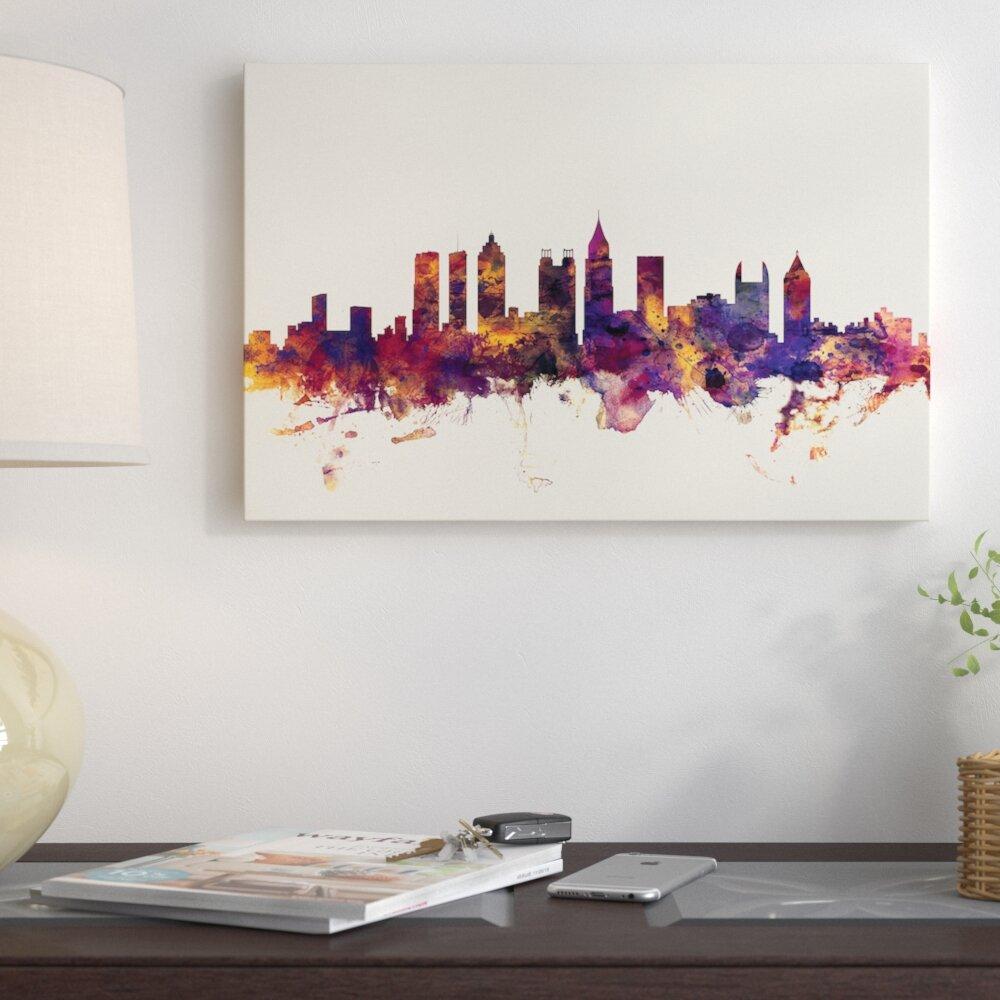 Atlanta Georgia Watercolor Skyline Wall Art Home Decor Poster UNFRAMED