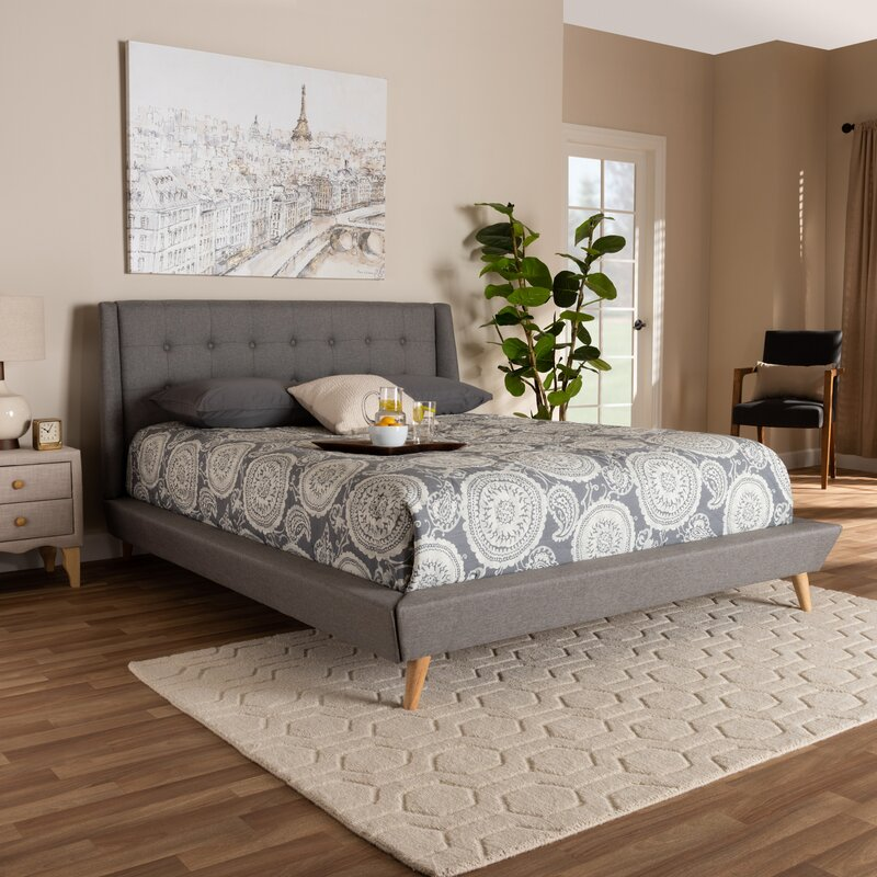 Shop Johansen Mid-Century Modern Wingback Upholstered Platform Bed from Wayfair on Openhaus