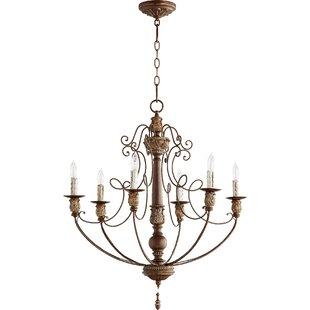 Copper chandeliers youll love wayfair kappel 6 light candle style chandelier aloadofball Gallery
