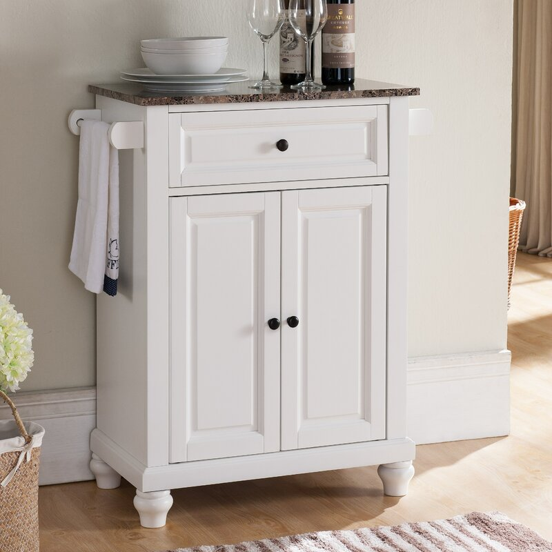Leonard Kitchen Island With Faux Marble Top