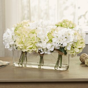 Flower centerpieces youll love wayfair hydrangea centerpiece in glass vase mightylinksfo Images