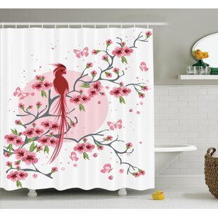 Odense Japanese Mythical Legendary Long-Lived Phoenix Bird on Floral Sakura Branch Back Artwork Single Shower Curtain