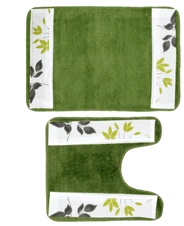 Sweet Home Collection Mayan Leaf Banded Cotton Blend Floral Piece Bath Rug Set Wayfair