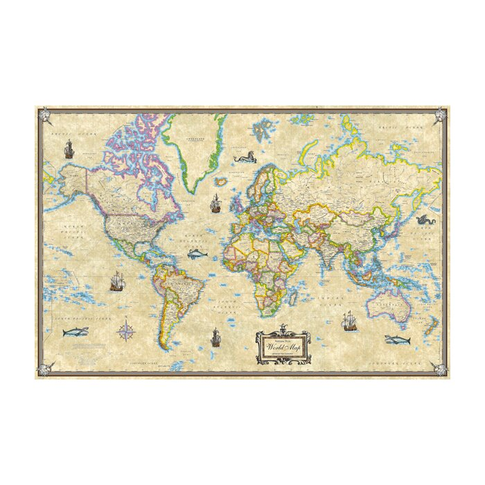Universal Map Antique Style World Laminated Rolled Map Reviews