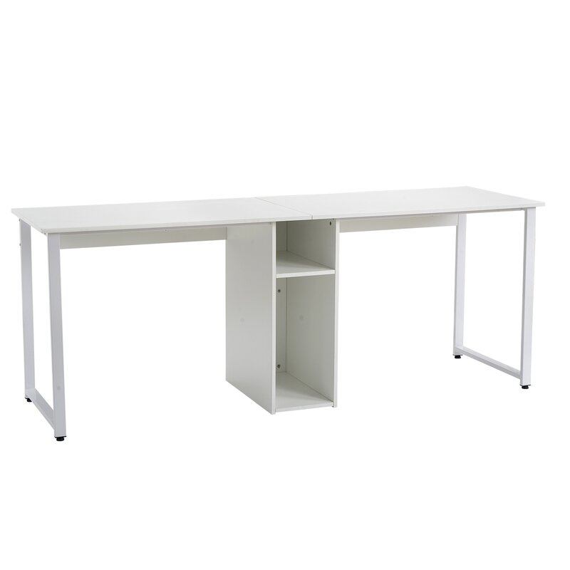 Latitude Run Home Office 2 Person Desk Large Double Workstation Desk Writing Desk With Storage White Wayfair Ca