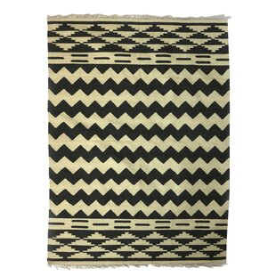Ridley Indian Countryside Hand-Woven Wool Beige/Black Area Rug By Bloomsbury Market