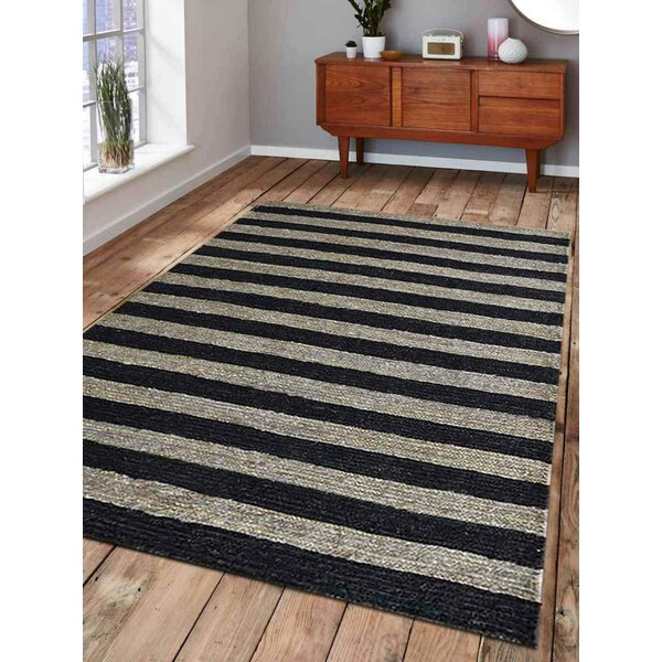 Wrought Studio Pilou Striped Hand Knotted Jute Sisal Black Area Rug Wayfair