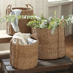 3 Piece Natural Palm Braided Basket Set by Highland Dunes