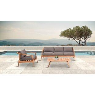 Hogue 3 Piece Teak Sofa Seating Group with Sunbrella Cushions