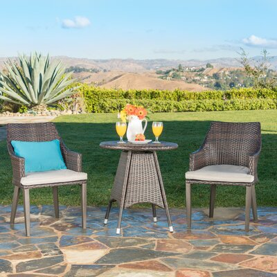 Backlund Outdoor Wicker 3 Piece Bistro Set With Cushions by Ivy Bronx Bargain