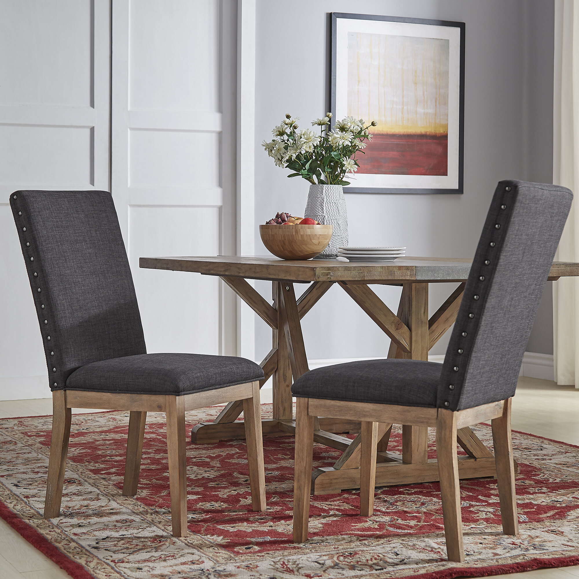 Super Irving Place Linen Nailhead Upholstered Dining Chair Bralicious Painted Fabric Chair Ideas Braliciousco