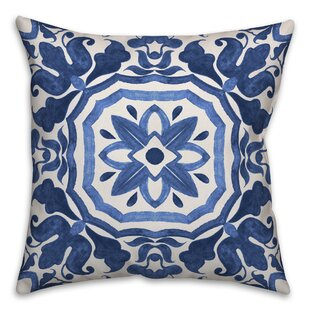 Hubbert Watercolor Damask Tile Throw Pillow